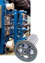 Typische Einsatzgebiete für Zugspannungsmesser: Lichleitfaserherstellung