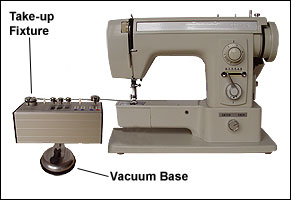 Tension meter MST on vacuum base beside a sewing machine