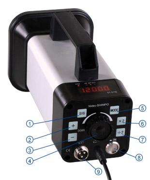Bedienungselemente Stroboskop DT-311D