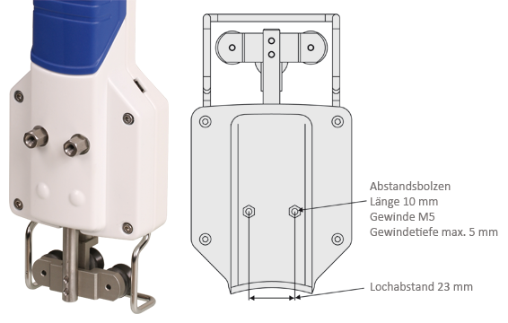 Befestigungsgewinde mit Abstandsbolzen für Zugspannungsmesser Modellreihe DT