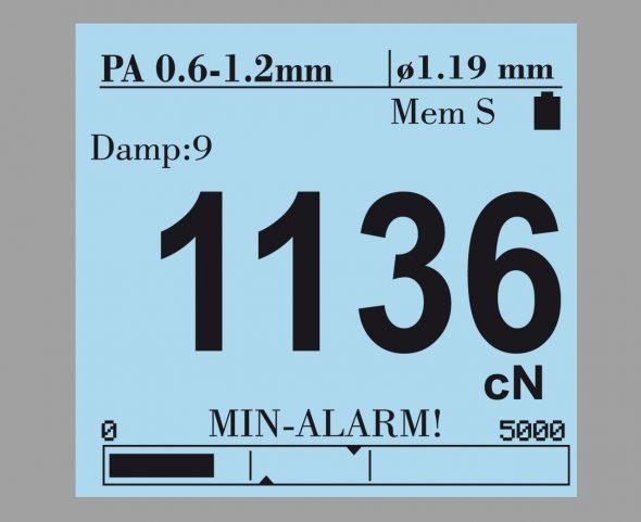 Display mit Bargraph Zugspannungsmesser Modellreihe DTS