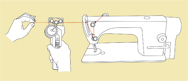Drawing of tension meter DX2 with a sewing machine