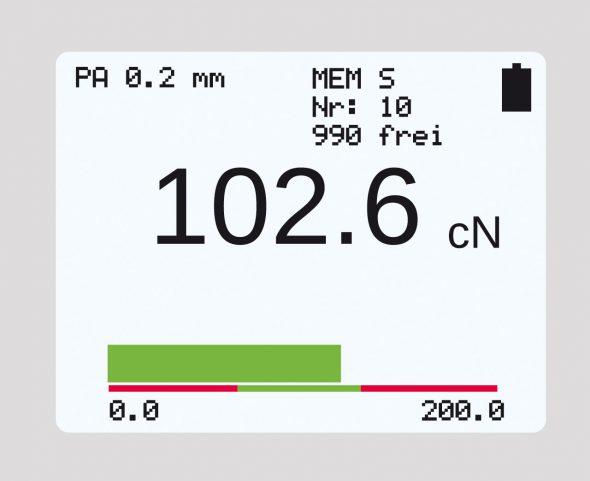 Display mit Bargraph Zugspannungsmesser Modellreihe ET