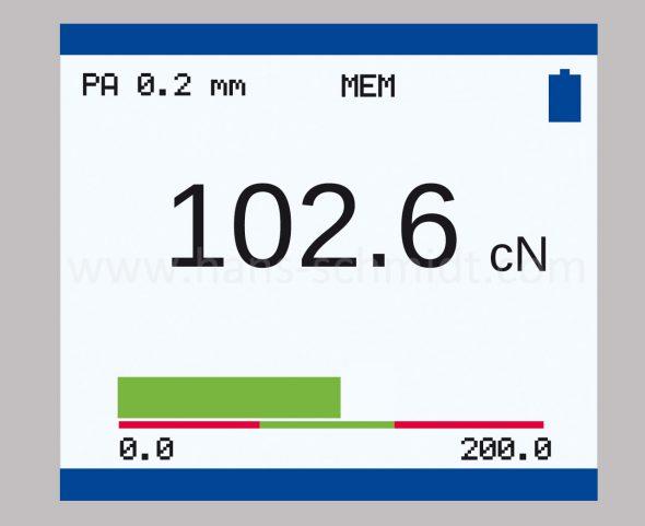 Display mit Bargraph Zugpannungsmesser Modellreihe ZE